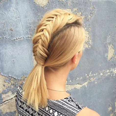 20 Faux Hawk Inspired Hairstyles You Must Try: Fishtail Braid Faux Hawk