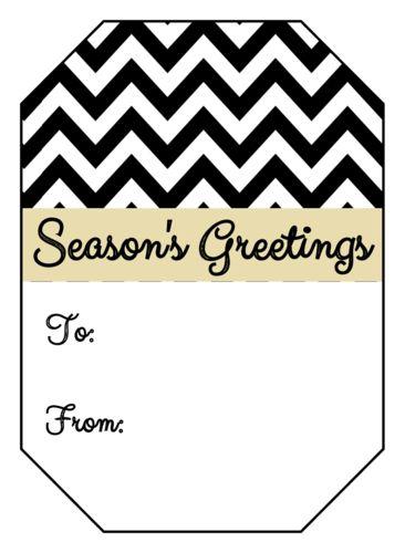 Chevron SeasonS Greetings Gift Tag Sticker  Christmas