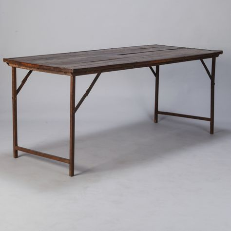 Large Industrial Wood And Iron Folding Table Found In England