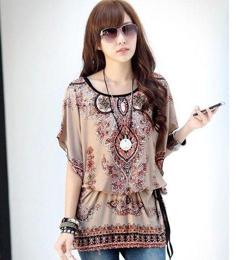 7f7e8e34 2015 Fashion Women Summer Fashion Loose Chiffon Blouse Shirts Retro Pattern  Flower Print Casual Tops Free Shipping