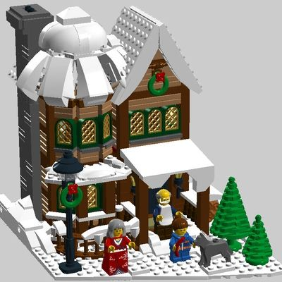 New Years Eve In Winter Village In 2020 Lego Christmas Lego Christmas Village Lego Gingerbread House