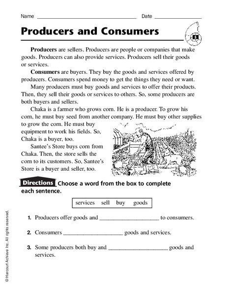 Producers And Consumers Worksheet Producers And Consumers Worksheet For 2nd 4th Grade Free Algebra Worksheet Template Free Math Worksheets