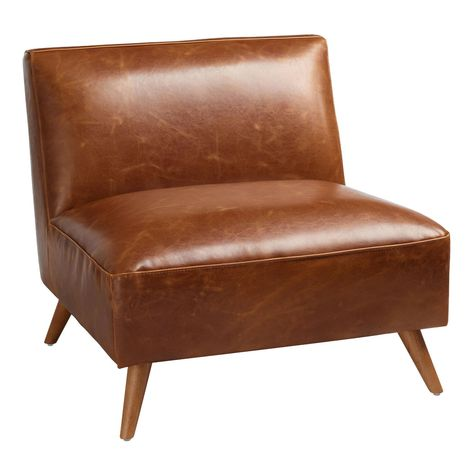 Chairs -Warm and welcoming, our Huxley chair features an oversized seat and clean armless silhouette, equally perfect for snuggling and creating a statement. Dressed in warm cognac-brown or gray bi-cast leather, this chair's easy good looks will make it at home in an array of styles. Material: Leather, Color:Brown. Also could be used for home decor,decor,family room furniture,home furnishings, chairs,living room chairs,accent chair,side chair,upholstered chairs,seating,living room seating,living Living Room Accents, Accent Chairs For Living Room, My Living Room, Living Room Furniture, Home Furniture, Outdoor Furniture, Furniture Stores, Rustic Furniture, Antique Furniture
