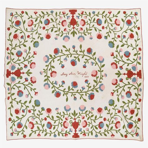 Appliquéd cotton quilt, Lucy Ann Wright (1822-1907), Stanford, NY, dated 1850, Freeman's Auctions