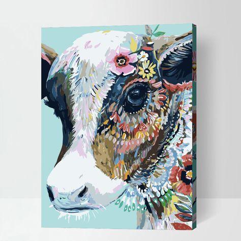Malen Nach Zahlen Kuhkopf Abstrakt Tiere Malen Malen Nach