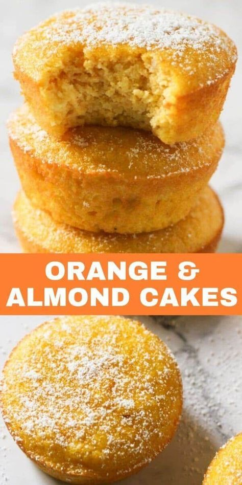 Flourless Orange and Almond Cakes are a great gluten free dessert option. These orange almond cupcakes are light and moist with just the right amount of sweetness. Serve as is, or sprinkle some icing or powdered sugar on top. Gluten Free Sweets, Gluten Free Cakes, Gluten Free Almond Cake, Gluten Free Baking Recipes, Sugar Free Baking, Vegan Desserts, Delicious Desserts, Flourless Desserts, Flourless Cake