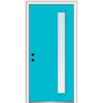 Verona Home Design Smooth 1 Lite Single Fiberglass Prehung Front Entry Door Door Orientation Left Hand Inswing Finish Bahama Blue Clear Door Size Wood Exterior Door Entry Doors Aluminum Screen Doors