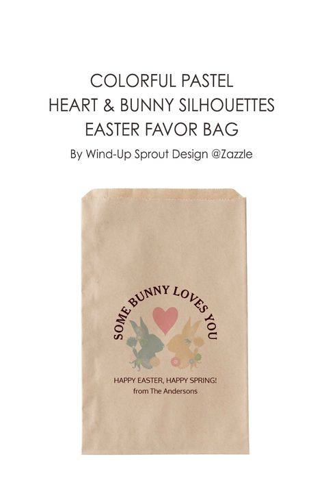 "Colorful Pastel Heart and Bunny Silhouettes Easter Favor Bag | Easter Bunny Paper Gift Bags | HAPPY EASTER, HAPPY SPRING! | Dimensions: 5"" x 8"" 