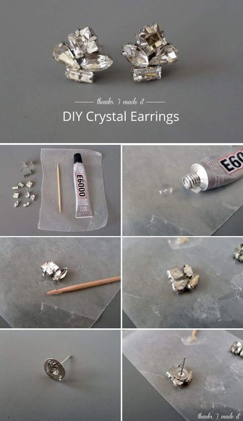 DIY Crystal Cluster Earrings A tacky, strong glue, toothpick, wax paper, rhinestones in setting and earring backs are the materials that you need to make earrings like this: