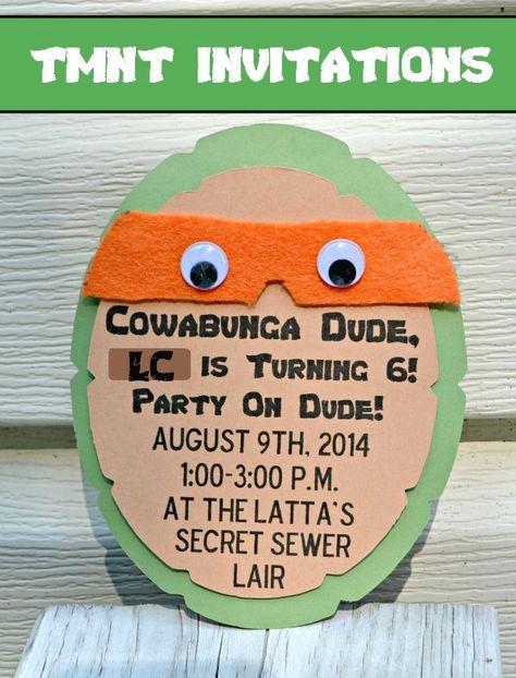 Teenage Mutant Ninja Turtle Party Invitations #TMNT