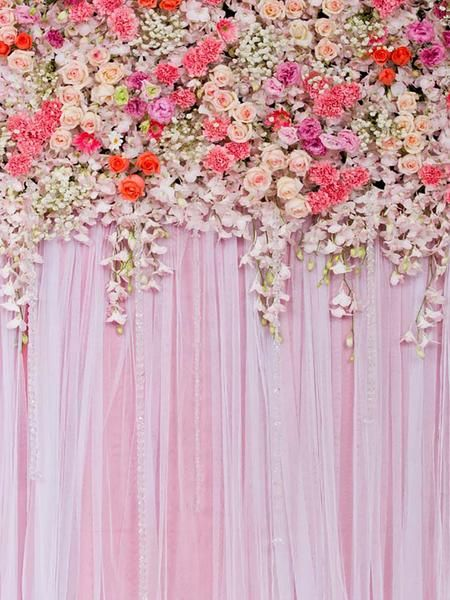 Meego Pink Flower Curtain Wedding Party Photo Backdrops For