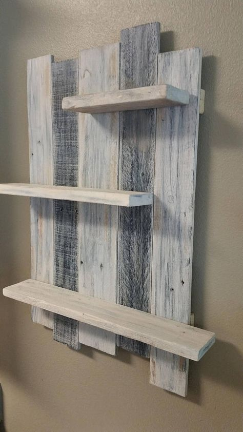 Handmade Reclaimed White Washed Wood Shelving Wall Decor Rustic