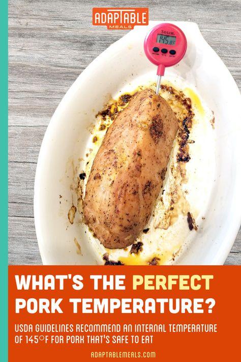 Make sure your #AdapTableMeals Sautéed Mushroom and Onion Pork Tenderloin reaches an internal temperature of 145° before dinner is served!  #AdapTableMeals #USDA #sauteedmushroom #porktenderloin #mushroomandonionpork #pork #porktemperature #dinnertonight #porkfordinner #wwfriendly #ketofriendly #ww #keto
