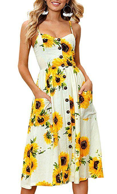 1289a67d853b6 Elsofer Women's Summer Dresses With Pockets Bohemian Sunflower ...