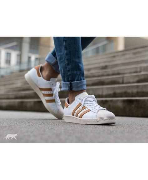 ADIDAS SUPERSTAR 80S DLX white gold metallic Sneaker Schuhe