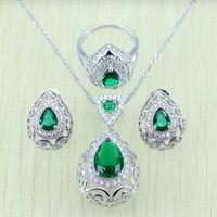 908990430be9 ... cautivadora plata de color azul cielo azul cristal Juegos de joyería  para las mujeres ZIRCON Anillos colgante Pendientes Collar 925 logo de  jewelry sets ...