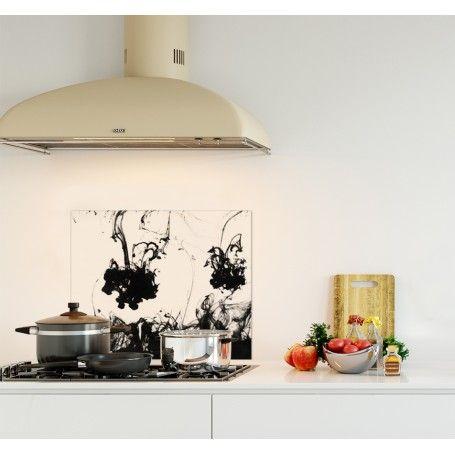 Credence Blanche Encre Noire Verre Et Alu Credence Cuisine Deco Credence Cuisine Credence Decoration Maison