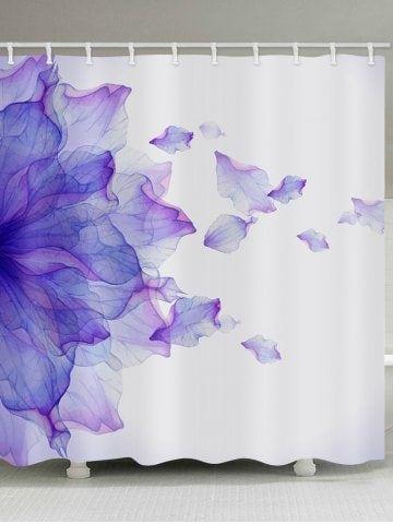 Flower Petal Printed Waterproof Bathroom Curtain Stall Shower
