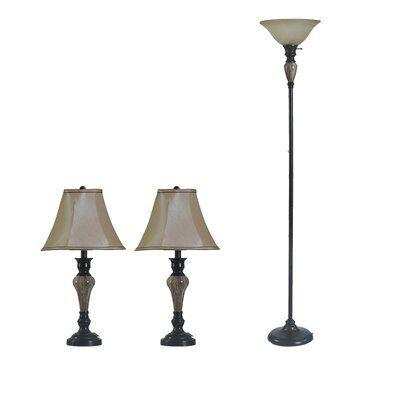 Red Barrel Studio Vetter 3 Piece Table And Floor Lamp Set Lamp