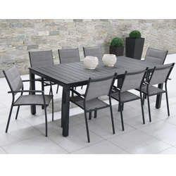 Salon de jardin: Table MALAGA 2M + 8 fauteuils TUNIS gris clair ...