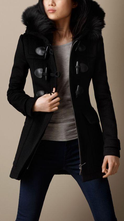 Detachable Hood Fur Trim Fitted Duffle Coat, A classic duffle coat cut with a detachable fox fur trim at the hood.