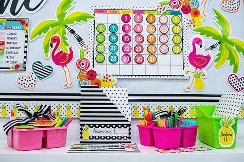 Schoolgirl Style - Simply Stylish Tropical! Zoom Classroom Background