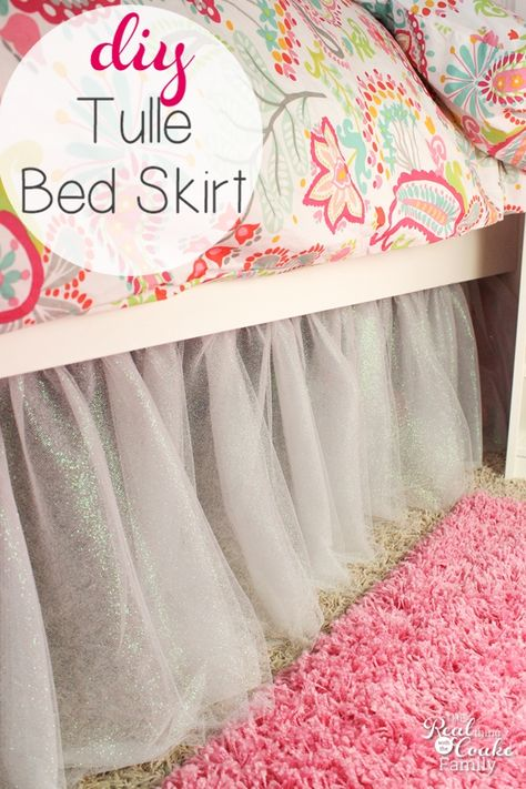 Bed Skirts can be so expensive! Instead you can make this cute sparkly tulle bed skirt. It is fairly easy easy sewing to make this diy bed skirt. Sponsored