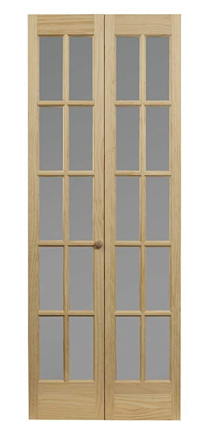 Pinecroft 862730 Traditional Divided Frosted Glass Bifold Wood Door 36 X 80 Unfinished Amazon Com French Doors Interior French Doors Glass Pantry Door
