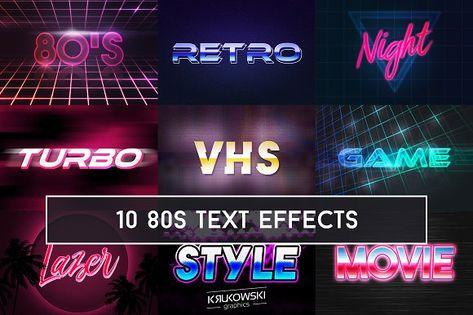 80's Retro Text Effect Mockup by Krukowski Graphics on