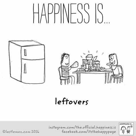 Saturday: Happiness is... Leftovers. Heck yeah, I don't want to cook haha.