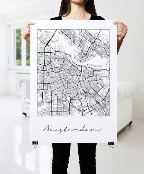 Photo of AMSTERDAM Karte drucken, moderne Stadt Poster, schwarz-weiß Minimal Wandkunst für die Inneneinrichtu