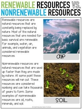 Natural Resources Reading Passages And Activities Natural Resources Reading Passages Nonrenewable Resources