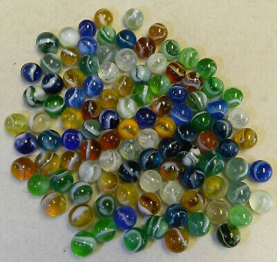 Ad 10227m Vintage Group Of 100 Peltier Marbles 58 To 67 Inches Marble Color Swirl Glass Toys