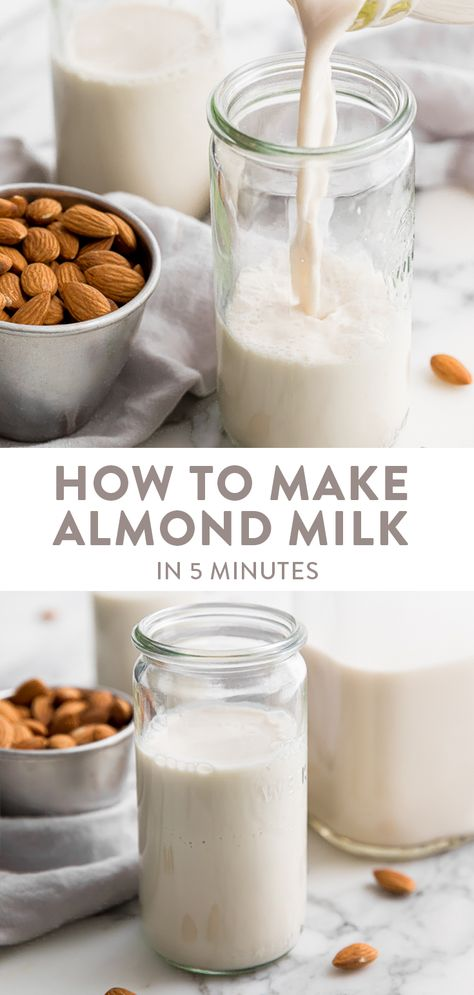 Jan 2020 - Want to learn how to make almond milk? You only need 5 minutes a couple ingredients and a high speed blender to make the richest and creamiest almond milk you'll ever have. Vegan and paleo! Make Almond Milk, Almond Milk Recipes, Homemade Almond Milk, Almond Drink Recipe, Whole30 Almond Milk, Dairy Free Recipes, Real Food Recipes, Yummy Food, Drink Recipes
