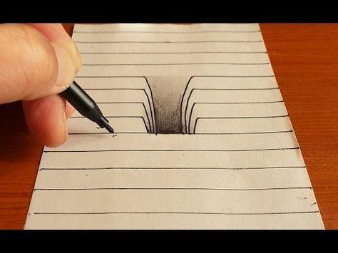 Trick Art On Line Paper Drawing 3d Hole Youtube Desenhos A