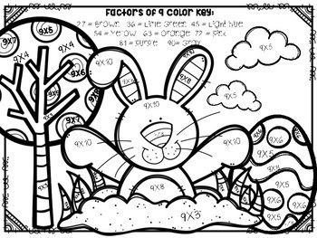 Easter Multiplication Color By Number Easter Math Activities Easter Math Easter Colors