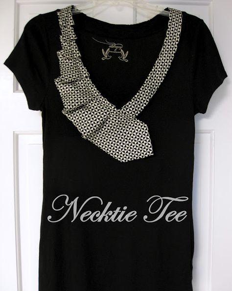 T-Shirt-Kragen mit Krawatte - DIY   upcycling   Pinterest   Tee ... a6b1315a47