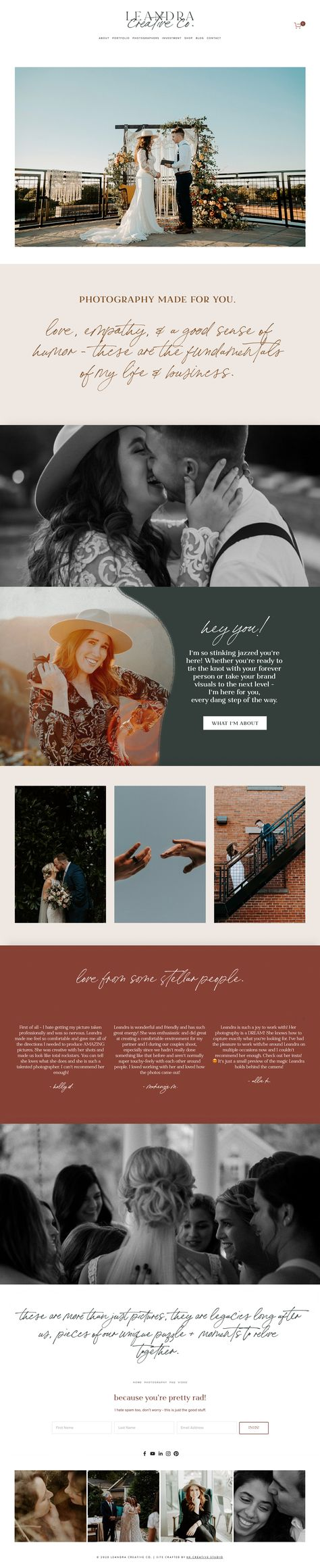 A custom photography Squarespace website design for a wedding photographer, Leandra Creative Co., based in North Carolina. The web design layout features imagery, package options, photography portfolio and client reviews. #webdesignlayout #websitetemplates #weddingphotographer #weddingwebsite