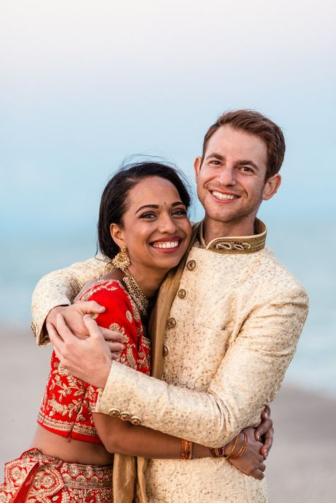 Happy bride and groom at their Chicago Indian wedding