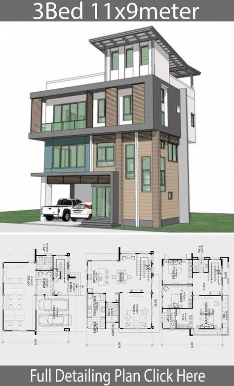 Home Design Plan 11x9m With 3 Bedrooms Projets à Essayer