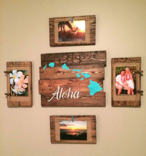 Reclaimed Wood Wall Art Aloha Hawaiian Island Reclaimed Etsy Wood Pallet Art Reclaimed Wood Wall Art Hawaiian Home Decor