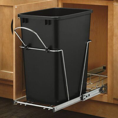 Rev A Shelf 8 75 Gallon Pull Out Under Counter Trash Can Systems Color Black In 2020 Hidden Trash Can Kitchen Kitchen Trash Cans Rev A Shelf