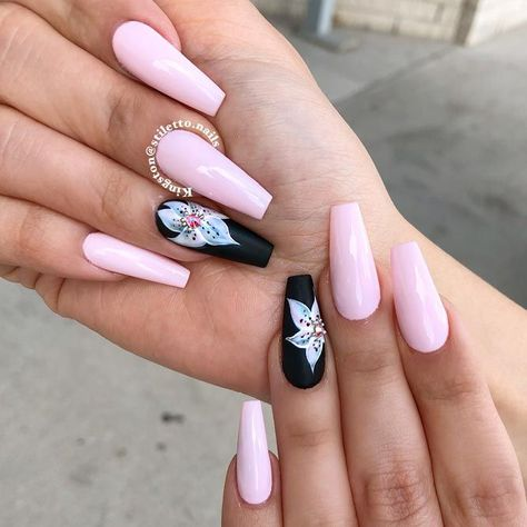 Long Pink Nails Dressed Up With Lily Flowers #coffinnails #pinknails #flowernails ❤️ Long nail designs are what glamorous girls look for. But it may seem difficult at time to come up with a suitable idea. That is why we suggest you use our trendy ideas to come up with a flawless look. ❤️ See more: https://naildesignsjournal.com/best-long-nail-designs/ #naildesignsjournal #nails #nailart #naildesigns #longnails