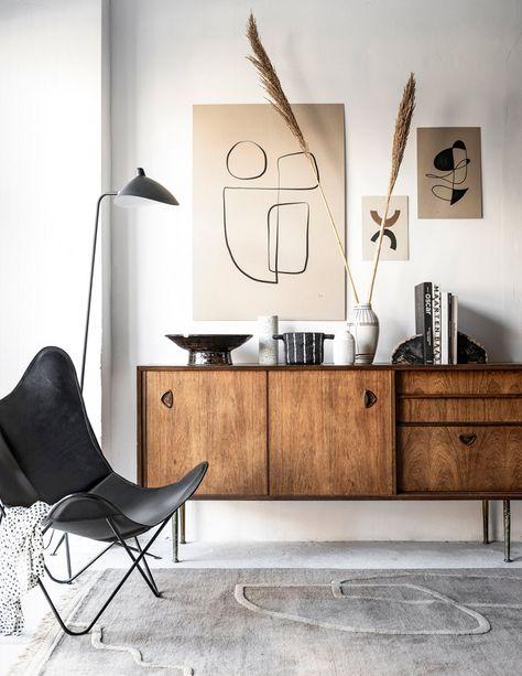 Strichzeichnung Kunst - Home Decor Living Room Modern