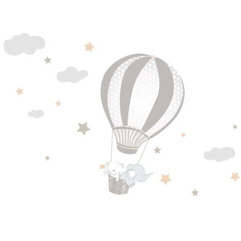Vinilo bebé infantil globo aerostático gris | dolcevinilo ®