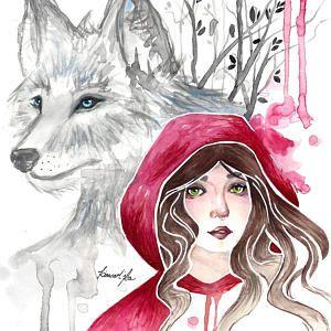 Fantasy Conte De Fees Aquarelle Dessin Print Little Red Riding