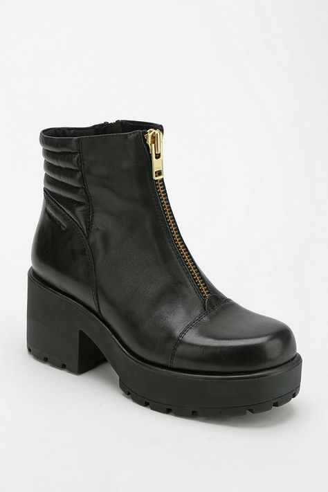 Vagabond Dioon Black Leather Mix Heeled Ankle Boots