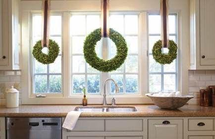 19 Ideas For Kitchen Window Wreath Indoor Kitchen Window Wreath Christmas Wreaths Indoor Christmas Interiors