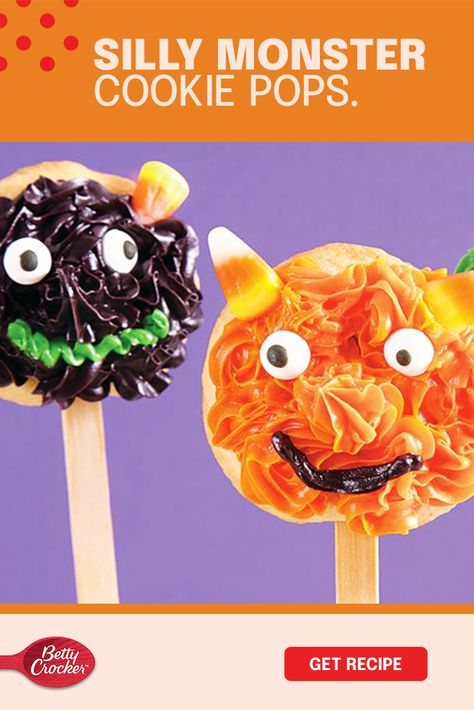 Grab the sweets and icing, and call your kids because you're decorating the most fun little treats today! Our Silly Monster Cookie Pops are the best way to make the most of the season and hold Halloween in your hands. If you want to bring the family together on the night of scares, Betty Crocker cookie mix and decorations are your best friends. And don't mind a little mess — it's how the best memories are made.