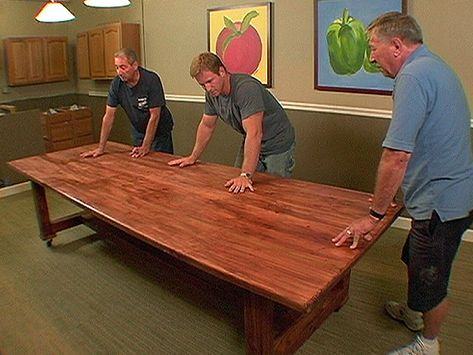 Oh ya, easy large table, big pieces of wood, a few screws, stain, and you are done.  YOU CAN DO IT!!